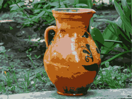 Clay antique jug with painting on a green background. Vector illustration. Vector.