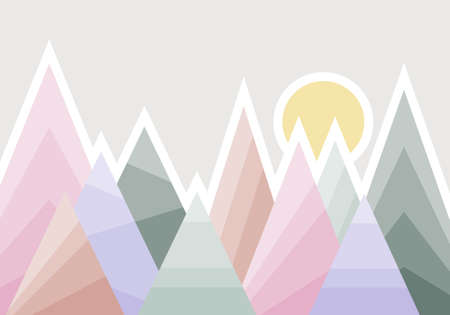 Abstract mountain landscape mural for a child's room. Vector illustration. Vector.