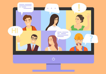Video conferencing, chat, work from home, remote work. Vector illustration. Vector