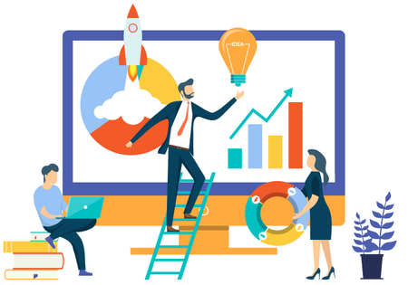 People work with information on computers and implement new ideas and startups. Diagram, graphs, new ideas and startups concept. Vector illustration. Vector.