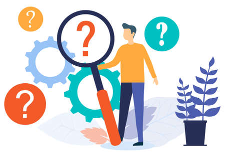 Finding the information you need. A man looks through a magnifying glass at a question mark. Frequently asked questions and information requests. Vector illustration. Vector. Illustration