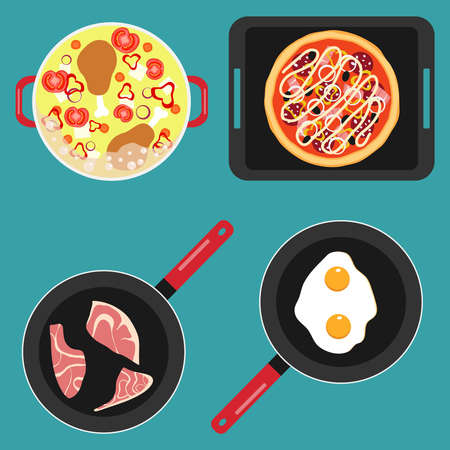 Cooking food, pots and pans with cooked food, soup, fried meat, scrambled eggs. Vector illustration. Vector.