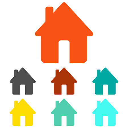 House icon. Set of multicolored house icons isolated on white background. Vector illustration. Vector.