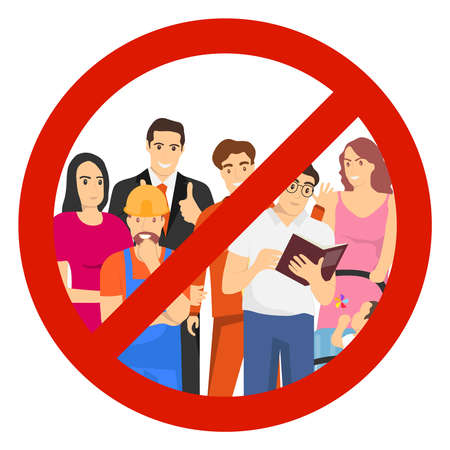 No crowd vector icon. A crowd of people is prohibited. It is forbidden for people to gather. Vector illustration. Vector. Illustration