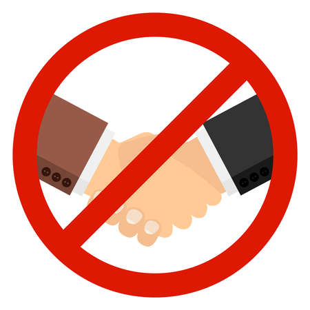 No handshake vector icon. It is forbidden to shake hands with each other. Vector illustration. Vector.