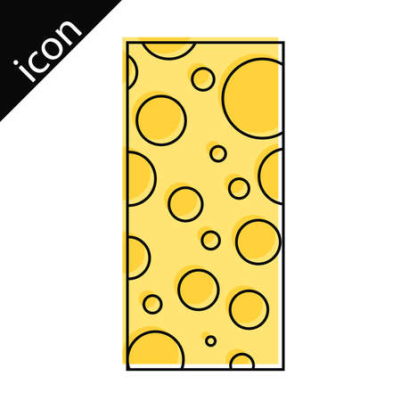 Cheese lines. Cheese icon with line borders. Vector illustration. Vector. Illustration