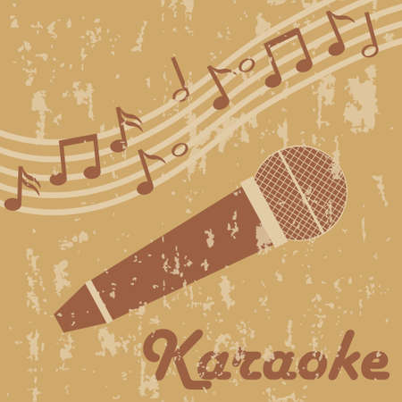 Retro microphone karaoke. Retro microphone karaoke icon with notes in light colors. Vector illustration. Vector.