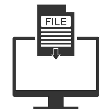 Downloading a file to your computer. File download icon on computer. Vector illustration. Vector.