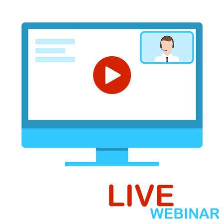 Live webinar, online training. Online training computer screensaver. Vector illustration. Vector. Illustration