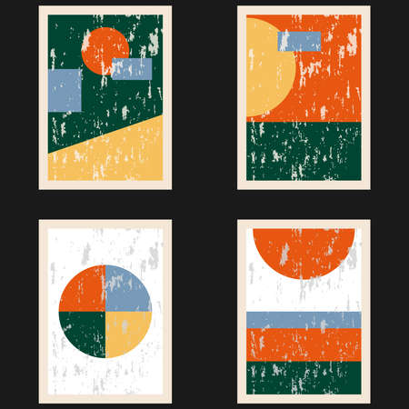 Set of abstract vintage posters from the last century. Designer vintage posters with geometric shapes. Vector illustration. Vector.