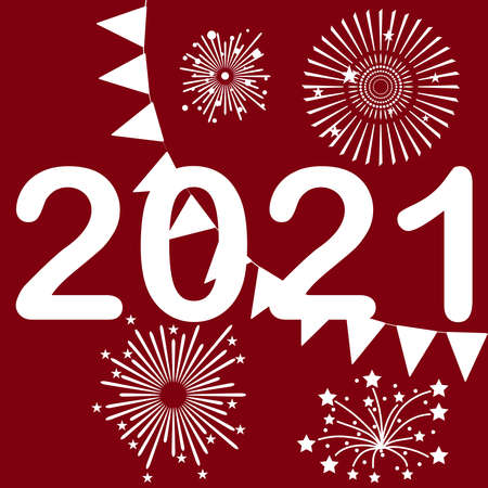 Vintage concept 2021 New Years poster. Design poster for 2021 Happy New Year. Vector illustration. Vector.
