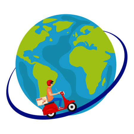 Pizza delivery. A man on a moped travels around the world delivering pizza. Vector illustration. Vector.