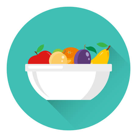 Fruits are on a white plate. Isolated plate with a set of fruits, apple, pear, plum, apricot, orange. Vector illustration. Vector.