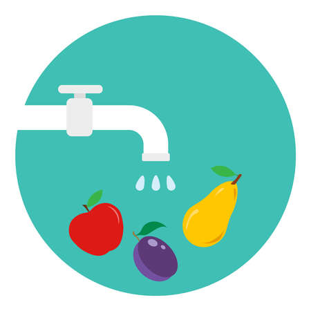 Washed fruits and vegetables. Fruit must be washed. Tap water washes the fruit. Vector illustration. Vector. Illustration