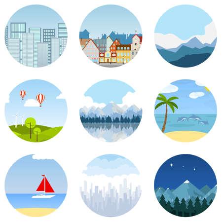 Urban, natural and sea landscapes. Set of landscapes. Vector illustration. Vector. Illustration