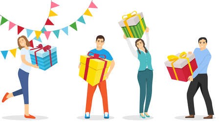 People are holding New Year's gifts in their hands. People with gifts in their hands. Vector illustration. Vector.