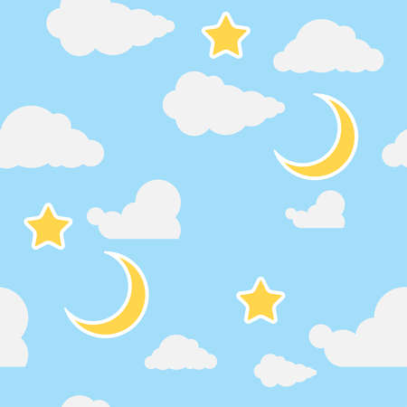 Seamless wallpaper for a children's room. Background image of children's wallpaper with clouds, moon and stars. Vector illustration. Vector.