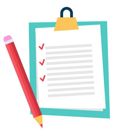 Checklist clipboard document with pencil. Vector illustration. Vector.