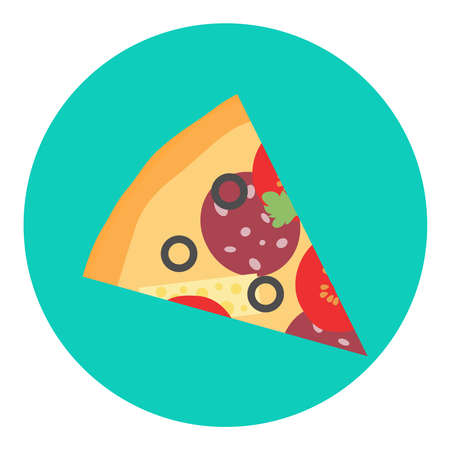 Pizza, slice of pizza isolated on a green background. Vector illustration. Vector. Illustration