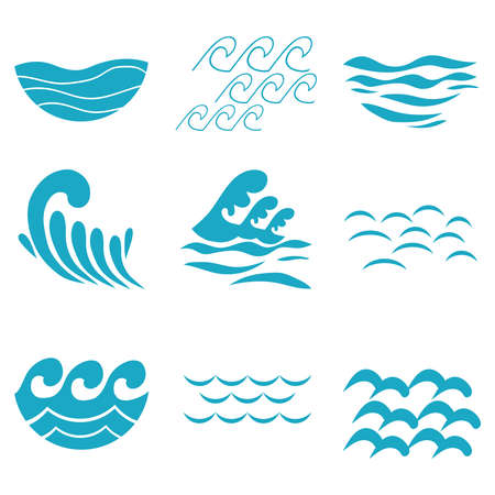 Waves, blue waves schematic set. Vector illustration Vector Illustration