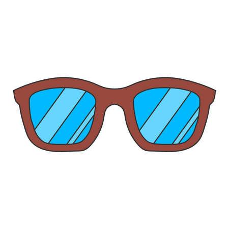 Glasses, vintage, cartoon glasses isolated on white background. Vector illustration. Vector. Illustration