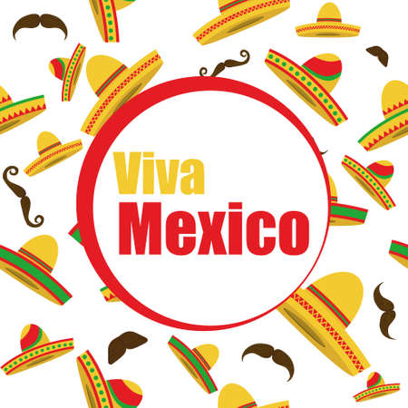 Viva Mexico banner. Mexican banner with a sombrero and a man's mustache on a white background. Vector illustration. Vector.