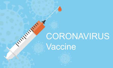 Coronavirus vaccination. Syringe with coronavirus vaccine. Vector illustration. Vector. Illustration