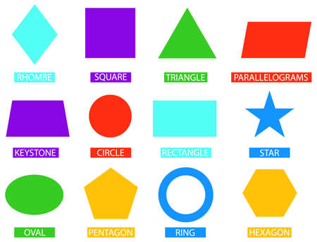 Geometric figures. Multicolored geometric shapes isolated on white background. Vector illustration. Vector.