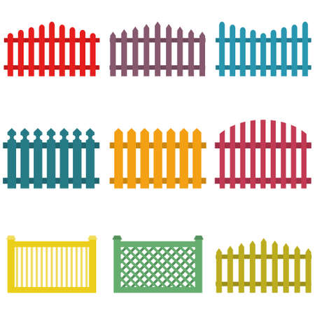 Children's, cartoon fence. Set of colored cartoon fence isolated on white background. Vector illustration. Vector.