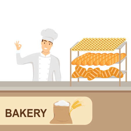 Baker with his pastries. A baker sells pastries over the counter. Vector illustration. Vector.