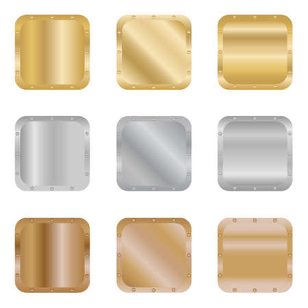 Metal textures. Realistic textures of gold, silver and bronze. Vector illustration. Vector.