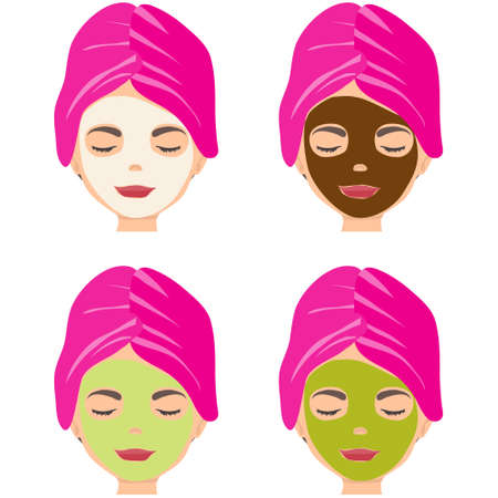 Rejuvenating face mask. The woman applied an anti-aging mask to her face. Vector illustration. Vector. Illustration