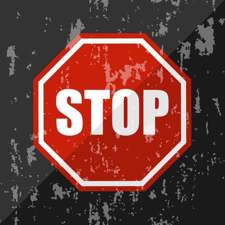 Stop sign in vintage. Designer stop sign in red on a black background. Vector illustration. Vector. Illustration