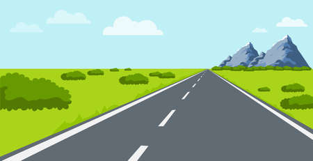 The road to nature. The road leads to natural landscapes with mountains, hills and green grass. Vector illustration. Vector. Illustration