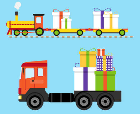 Delivery of gifts. The train and the truck are carrying gifts. Vector illustration. Vector.