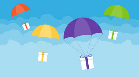 Delivery of gifts. Gifts descend on umbrellas against the sky with clouds. Vector illustration. Vector.