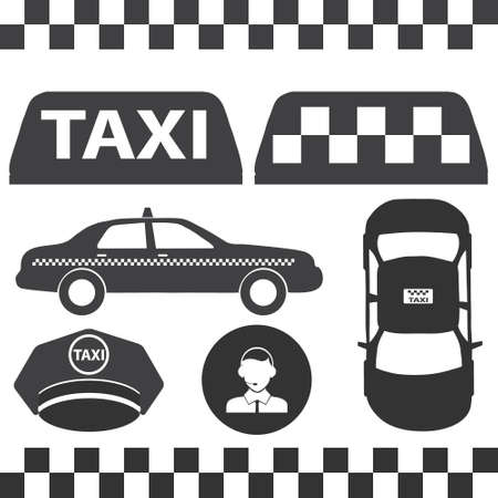 Taxi sign, assorted taxi icons. Vector illustration Vector