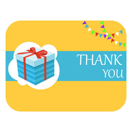 Thank you poster. Thank you horizontal banner with gift. Vector illustration. Vector.