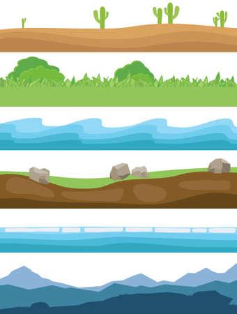 Natural landscapes. Set of horizontal natural landscapes. Mountains, land, sea, grass, sand Vector illustration Vector Vektoros illusztráció