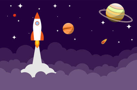 The rocket flies in space to the stars and planets. New startup concept. Vector illustration. Vector.