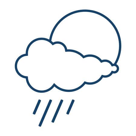 Meteorological sign. Sun with rain. It might rain. Vector illustration. Vector.