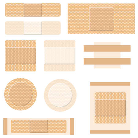 Medical plaster. A set of medical plasters. Vector illustration. Vector.