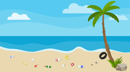 Ecological catastrophy. Beach pollution with household waste. Vector illustration. Vector.