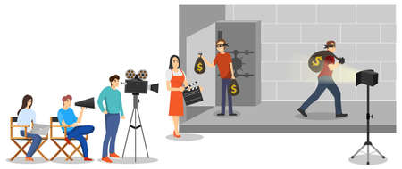 Shooting of the film. The director is filming an episode of the film. Vector illustration. Vector.
