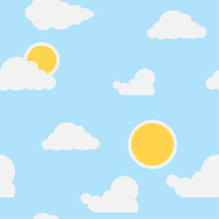 Wallpaper for a children's room clouds and sun on a blue background. Seamless wallpaper for the nursery. Vector cartoon illustration. Vector. Illustration