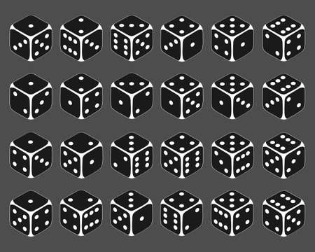 Dice, large set of dice in isometric view. Vector cartoon illustration. Vector. Illustration