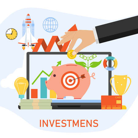 Investments, capital investment. The hand throws a coin into the piggy bank. Vector cartoon illustration. Vector.