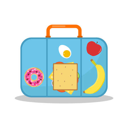 Lunch box, lunch box with sandwich, banana, apple and donut. Vector cartoon illustration. Vector.
