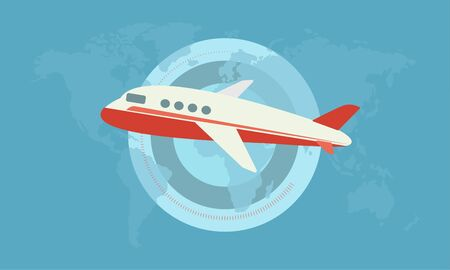 Flying Red and White Plane on the Blue Background with Map of the World in Flat Design.