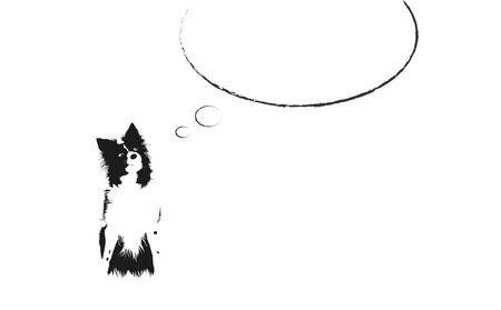 Zwart-wit Illustrated Dog vergadering met grote lege Comics toespraak bubble boven het hoofd Stock Illustratie